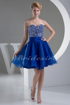 A-line Sweetheart Knee-length Sleeveless Satin Organza Dress