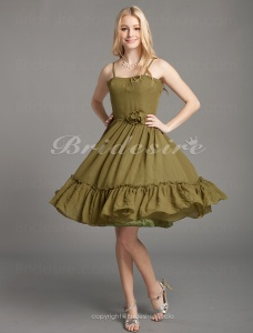 A-line Chiffon Knee-length Spaghetti Straps Bridesmaid Dress