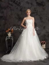 Ball Gown Lace And Tulle Cathedral Train Strapless Wedding Dress