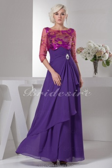 A-line Bateau Floor-length 3/4 Length Sleeve Chiffon Dress