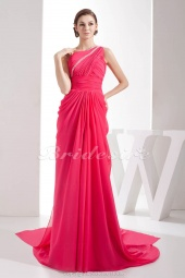 A-line One Shoulder Floor-length Sweep/Brush Train Sleeveless Chiffon Dress