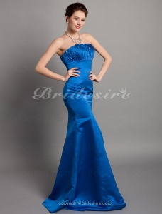 Trumpet / Mermaid Satin Floor-length Strapless Bridesmaid/ Wedding Party Dress