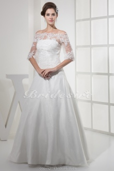 A-line Off-the-shoulder Floor-length Half Sleeve Organza Lace Wedding Dress
