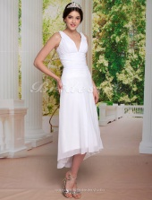 A-line Asymmetrical Chiffon V-neck Tea-length Wedding Dress