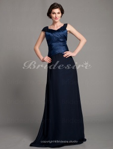 A-line Chiffon And Stretch Satin Floor-length Straps Mother of the Bride Dress