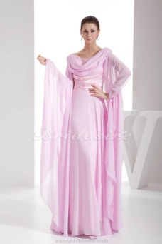 Sheath/Column V-neck Floor-length Long Sleeve Chiffon Dress