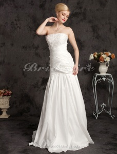 Mermaid/Trumpet Taffeta Lace Floor-length Strapless Wedding Dress