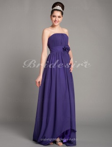 A-line Chiffon Asymmetrical Strapless Bridesmaid Dress