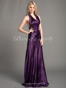 A-line Satin Floor-length Haulter Evening Dress