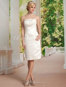 Sheath/ Column Satin Knee-length Strapless Wedding Dress With Removable Watteau Train