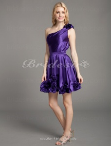 A-line Stretch Satin Short/ Mini One Shoulder Bridesmaid Dress