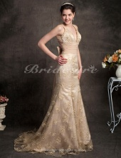 Trumpet/ Mermaid Court Train V-neck Chiffon And Lace Wedding Dress