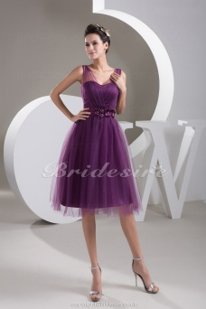 A-line Straps Knee-length Sleeveless Satin Tulle Dress
