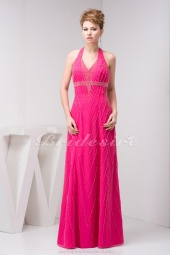 A-line Halter Floor-length Sleeveless Chiffon Dress