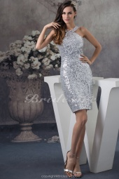 Sheath/Column Halter Knee-length Sleeveless Sequined Dress