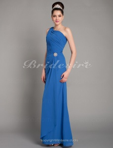 A-line Chiffon Sweep/Brush Train One Shoulder Evening Dress