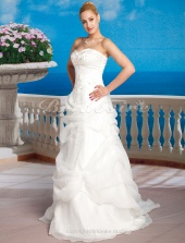 A-line Satin And Organza Court Train Strapless Wedding Dress