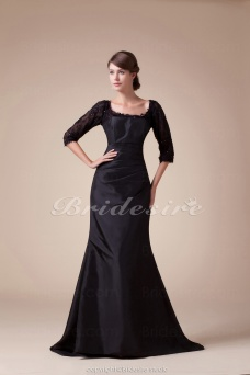 Trumpet/Mermaid Square Floor-length Half Sleeve Satin Dress