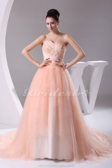 Ball Gown Sweetheart Chapel Train Sleeveless Tulle Dress