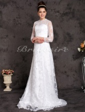 A-line Satin Lace Court Train Jewel Wedding Dress
