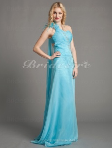 Sheath/Column Cheap One Shoulder Sweetheart Chiffon Floor-length Evening Dresses