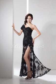 Trumpet/Mermaid One Shoulder Floor-length Sleeveless Lace Satin Dress