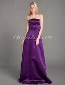 Sheath/ Column Stretch Satin Floor-length Strapless Bridesmaid/ Wedding Party Dress