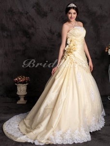 A-line Taffeta Strapless Cathedral Train Wedding Dress with Flowers