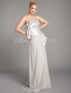 Sheath/ Column Floor-length Charmeuse Chiffon Strapless Bridesmaid Dress
