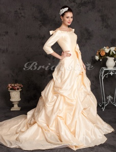 A-line Taffeta Court Train Off-the-shoulder Wedding Dress