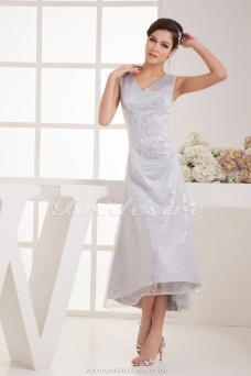 A-line V-neck Ankle-length Sleeveless Satin Dress