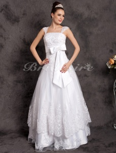 A-line Luxury Floor-length Sleeveless Off-the-shoulder Tulle Wedding Dress