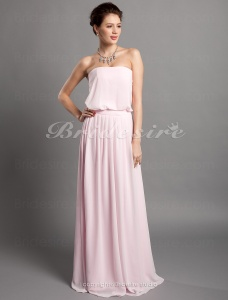 Sheath/ Column Chiffon Over Elastic Woven Satin Strapless Floor-length Bridesmaid Dress