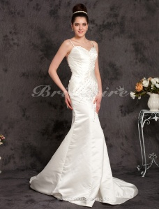 Mermaid/Trumpet Satin Chapel Train Spaghetti Strap Wedding Dress