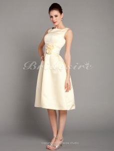 A-line Knee-length Satin Square Bridesmaid/ Wedding Party Dress