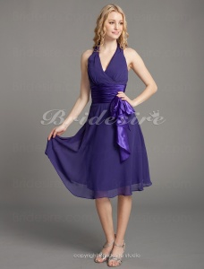 A-line V-neck Halter Chiffon Matte Satin Knee-length Bridesmaid/ Wedding Party Dress