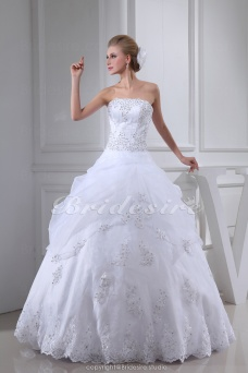 Ball Gown Strapless Floor-length Sleeveless Lace Wedding Dress
