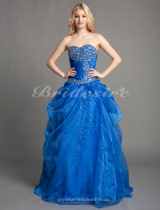 Ball Gown Organza Floor-length Sweetheart Evening Dress With Beading And Side Draping