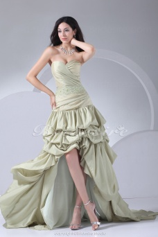 Ball Gown Sweetheart Asymmetrical Sweep Train Knee-length Sleeveless Taffeta Dress