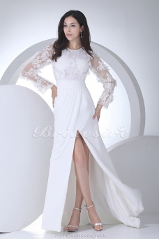 Sheath/Column Scoop Floor-length Long Sleeve Chiffon Lace Wedding Dress