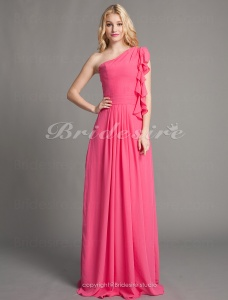Sheath/Column Chiffon And Satin Floor-length One Shoulder Bridesmaid Dress With Cascading Ruffles