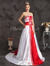A-line Satin Chapel Train Strapless Wedding Dress With Embroidery