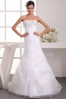A-line Strapless Floor-length Sleeveless Satin Chiffon Wedding Dress