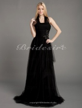 A-line Tulle Over Stretch Satin Floor-length Halter Evening Dress