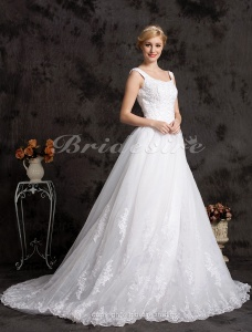 Ball Gown Organza Satin Chapel Train Off-the-shoulder Wedding Dress