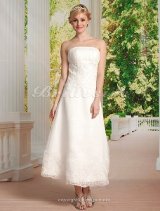 A-line Organza Tea-length Strapless Wedding Dress