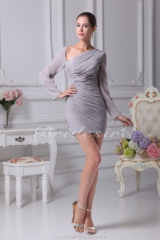 Sheath/Column V-neck Short/Mini Long Sleeve Chiffon Dress