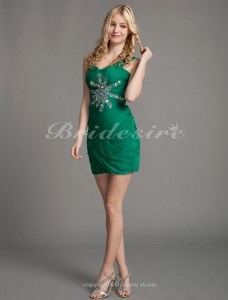 Sheath/Column One Shoulder Sweetheart Chiffon Short/Mini Cocktail Dresses