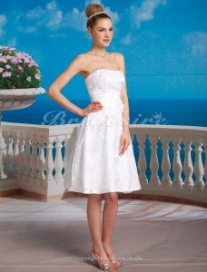 A-line Satin Knee-length Strapless Wedding Dress