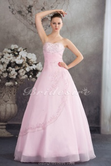 Ball Gown Strapless Floor-length Sleeveless Organza Dress